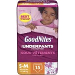 GoodNites Disposable Underwear, Pull On Training Diapers and Pull Ups For Girls Small/Medium Jumbo, Most absorbent, Soft, Latex-free - PK of 15 EA
