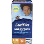 GoodNites Disposable Underwear, Pull On Training Diapers and Pull Ups For Boys Large/Extra-Large Jumbo, Most absorbent, Soft, Latex-free - PK of 12 EA