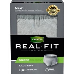 Depend Real Fit Briefs, Discreet Pull Ons for Men, Large/X-Large fits Waist 38-50