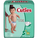 Prevail ® Cuties Baby Diapers for Kids Size 5, 27 lb - Qty: BG of 27 EA