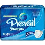 "Prevail ® Breezer Adult Briefs, Diapers Large 45-58"" Waist, Latex-free - Qty: PK of 18 EA"