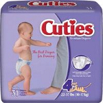 Prevail � Cuties Baby Diapers for Kids Size 4, 22 to 37 lb - Qty: BG of 31 EA