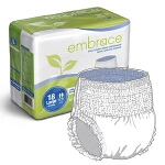Embrace Adult Skin Caring Pull On Diapers and Pull Up Underwear with Leakage Barrier Large, White - Qty: BG of 18 EA