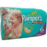Pampers Baby-Dry Diapers for Kids Size 6, 35lb+, Disposable, Latex-free - Qty: PK of 18 EA