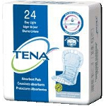 TENA ® Dry Comfort Light Absorbency Day Pads for Adult Incontinence, White, Latex-free - Qty: PK of 24 EA
