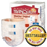 Tranquility SlimLine ® Junior Disposable Brief, 24 to 42 lb, 10 oz Fluid Capacity, Latex-free, Peach Mat Construction, Softer Cloth-like Fabric Backing - Qty: BG of 12 EA